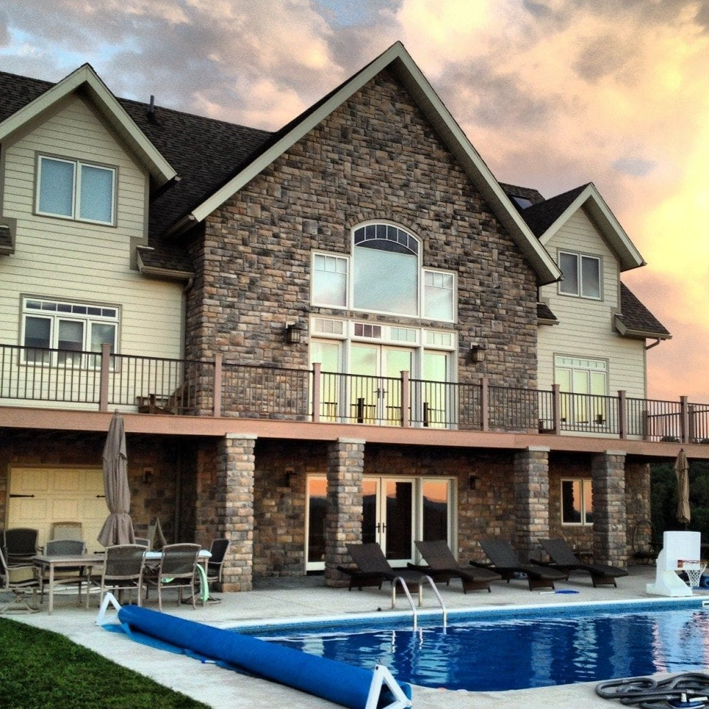Timber Frame home with pool